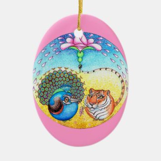 'Trust' Peacock and Tiger Ceramic Ornament