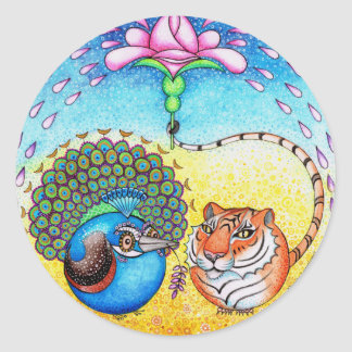 'Trust' Peacock and Tiger Classic Round Sticker