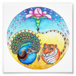 'Trust' Peacock and Tiger Photo Print