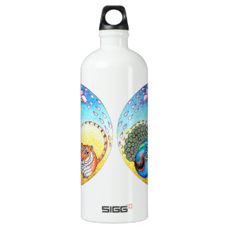 'Trust' Peacock and Tiger Water Bottle