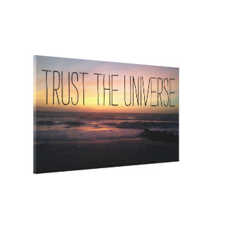 TRUST the Universe Gorgeous Beach Sunset Photo Canvas Print