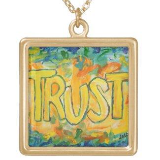 Trust Word Art Necklace Pendant Charm