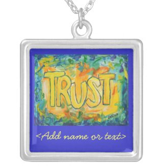 Trust Word Art Painting Silver Necklace Charm