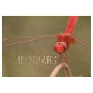 Trust Your Wings Quote Dragonfly Custom 29x19 Wood Poster