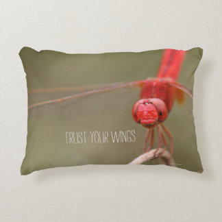 Trust Your Wings Quote Red Dragonfly Accent Pillow