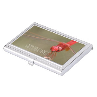 Trust Your Wings Quote Red Dragonfly Business Card Holder