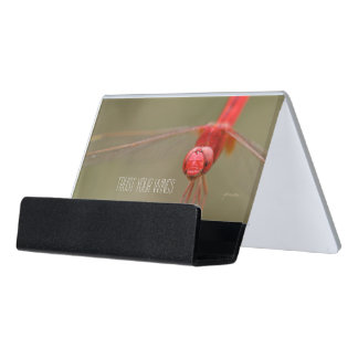 Trust Your Wings Quote Red Dragonfly Desk Business Card Holder