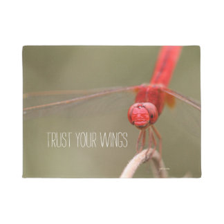 Trust Your Wings Quote Red Dragonfly Doormat