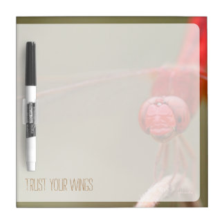 Trust Your Wings Quote Red Dragonfly Dry-Erase Board