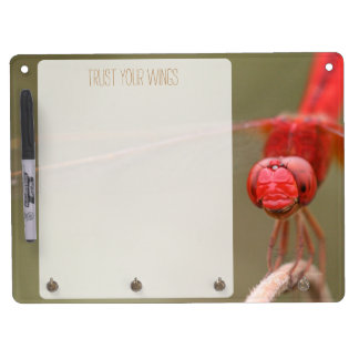Trust Your Wings Quote Red Dragonfly Dry Erase Board With Keychain Holder