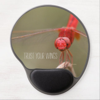 Trust Your Wings Quote Red Dragonfly Gel Mouse Pad