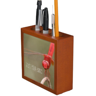 Trust Your Wings Quote Red Dragonfly Pencil Cup Desk Organizer