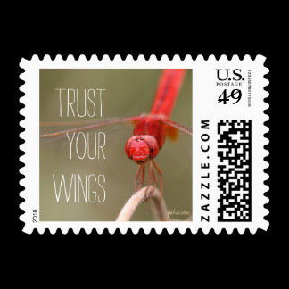 Trust Your Wings Quote Red Dragonfly Postage