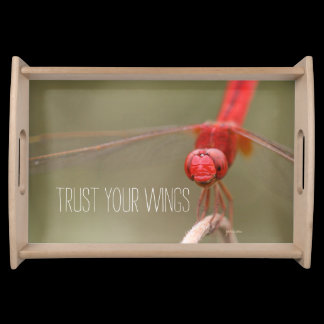 Trust Your Wings Quote Red Dragonfly Serving Tray