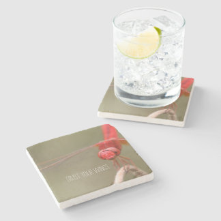 Trust Your Wings Quote Red Dragonfly Stone Coaster