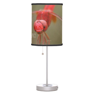 Trust Your Wings Quote Red Dragonfly Table Lamp