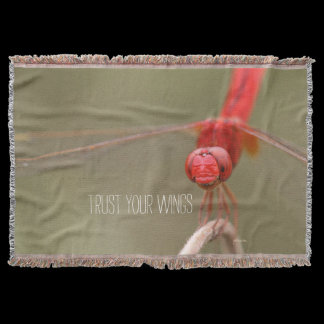 Trust Your Wings Quote Red Dragonfly Throw Blanket