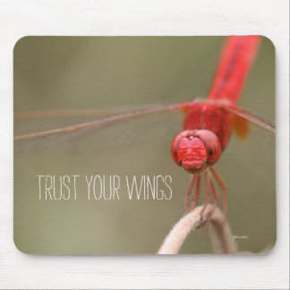Trust Your Wings Quote Red Dragonfly Traditional Mouse Pad