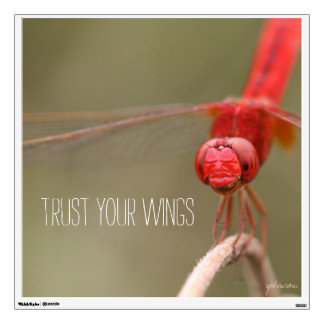 Trust Your Wings Quote Red Dragonfly Wall Sticker