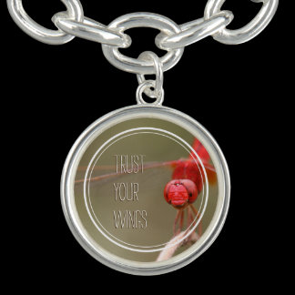 Trust Your Wings Quteo Red Dragonfly Personalized Charm Bracelet