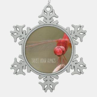 Trust Your Wings Red Dragonfly Mirror Hanger / Snowflake Pewter Christmas Ornament