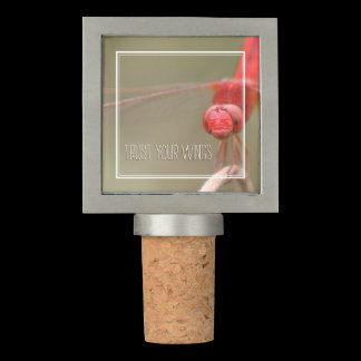 Trust Your Wings Red Dragonfly Personalized Cork / Wine Stopper