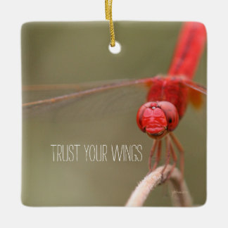 Trust Your Wings Red Dragonfly Rear View Mirror Ceramic Ornament