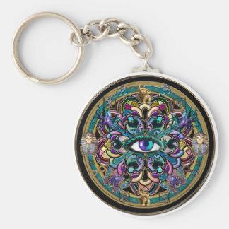 Trust Yourself ~ The Eyes of the World Mandala Basic Round Button Keychain