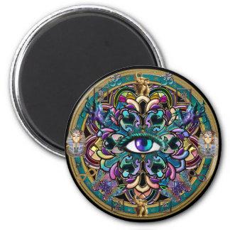 Trust Yourself ~ The Eyes of the World Mandala Fridge Magnets