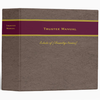 Trustee Manual with Custom Name Estate Plan binder