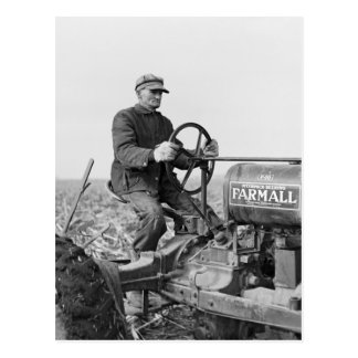 Trusty Old Tractor, 1930s Postcard
