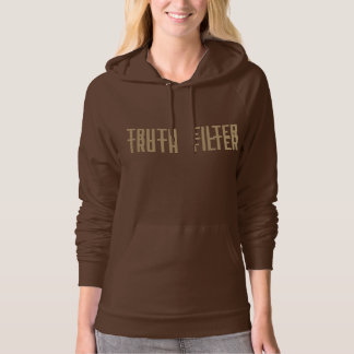 TRUTH FILTER logo and social collapse hoodie