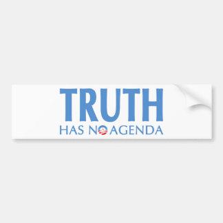 Truth Has No Agenda Bumper Sticker