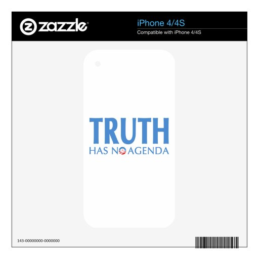 Truth Has No Agenda Skins For iPhone 4S