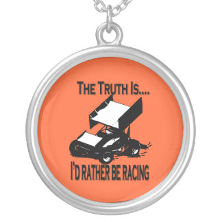 Truth is I'd rather be racing round necklace