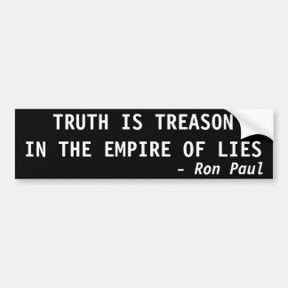 TRUTH IS TREASON IN THE EMPIRE OF LIES CAR BUMPER STICKER