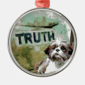 truth needs flexibility. metal ornament
