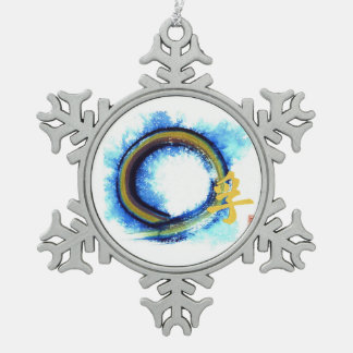 Truth on the Edge of Center, Enso Snowflake Pewter Christmas Ornament