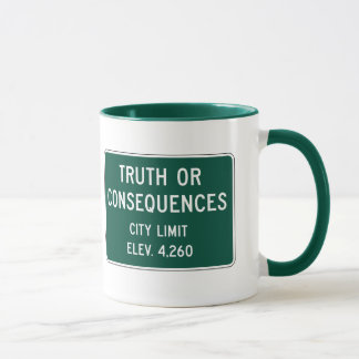 Truth Or Consequences, Road Marker, New Mexico, US Mug