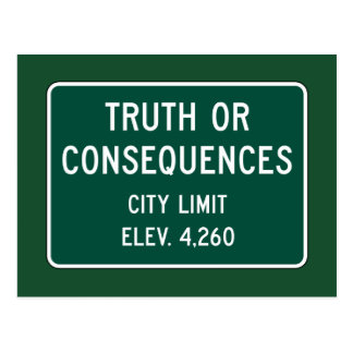 Truth Or Consequences, Road Marker, New Mexico, US Postcard