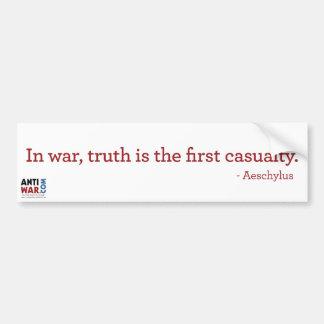 Truth The 1st Casualty Bumper Sticker