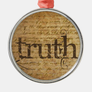 Truth Vintage Round Metal Christmas Ornament