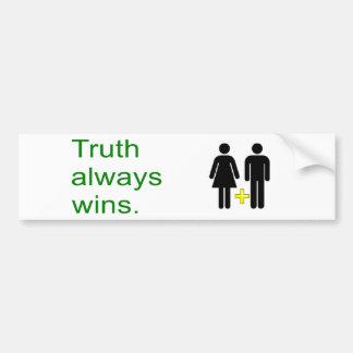 Truth wins! Celebrate traditional marriage Bumper Sticker