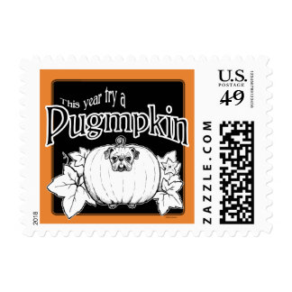 Try a Pugmpkin! Halloween Postage Stamps