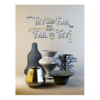 Try & Fail But Don't Fail to Try Stylish Pottery Postcard