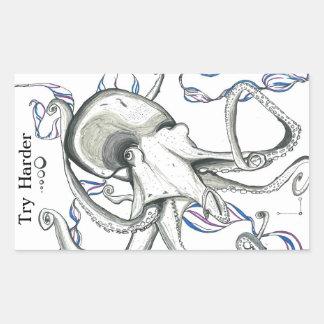 Try Harder/Space Octopus sticker Rectangular Sticker