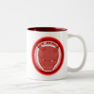 Try Jesus. If you don't like Him the devil will... Two-Tone Coffee Mug