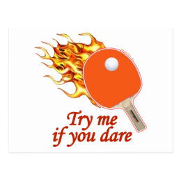 Try Me Flaming Ping Pong Postcard