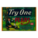 Try One Pear Crate Label Poster