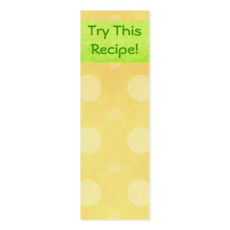 Try This Recipe- Small Bookmarks Business Card Template